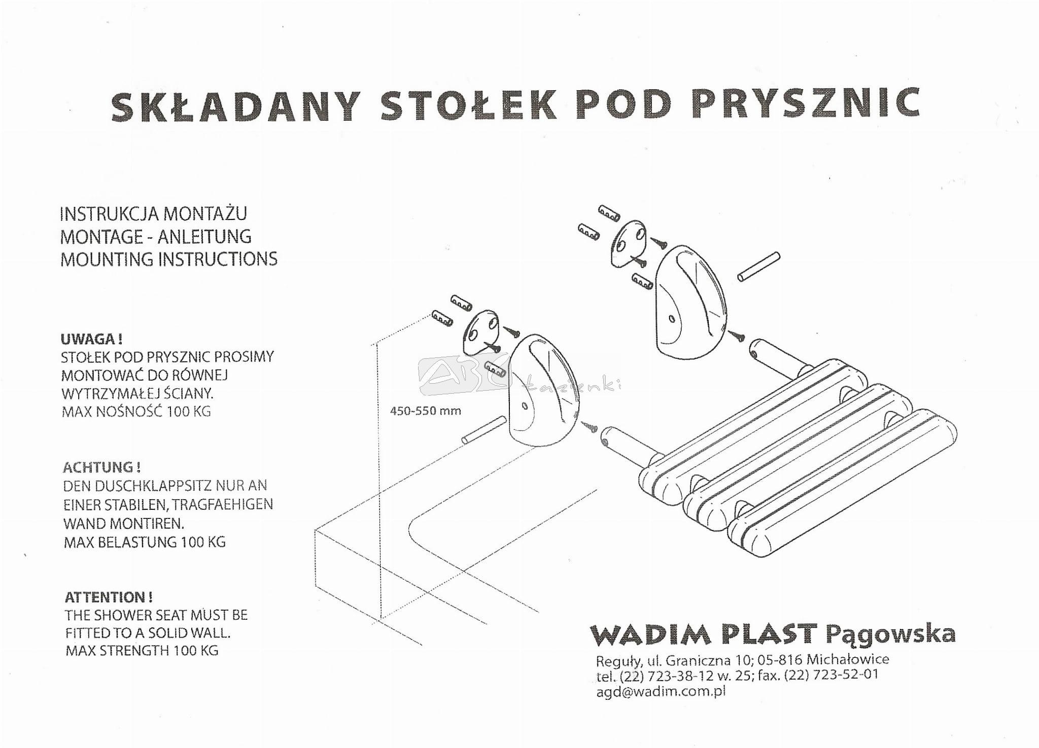 Wadim Plast 3000 Stołek Siedzisko Pod Prysznic Do 100kg Siedziska